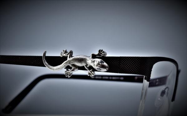 Gecko auf Brillengestell