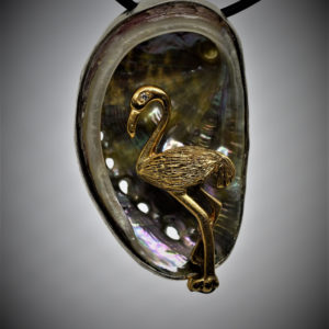 Flamingo in Abalone pendant