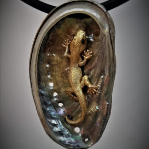 Gecko in Abalone shell pendant