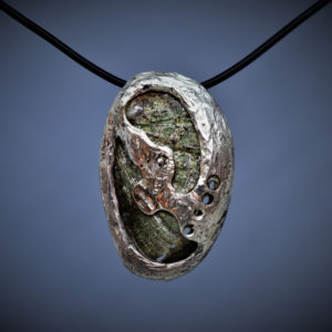 Squid in Abalone shell - pendant